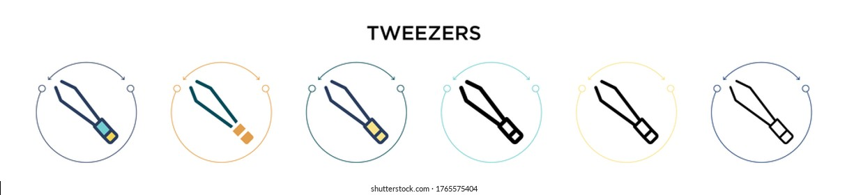 Tweezers icon in filled, thin line, outline and stroke style. Vector illustration of two colored and black tweezers vector icons designs can be used for mobile, ui, web