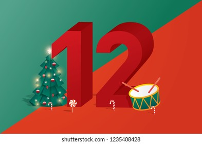 the twelfth day of christmas of the twelve days of Christmas/advent calendar greetings template vector/illustration