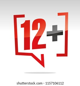 Twelve 12 plus sign in brackets speech red white isolated sticker icon