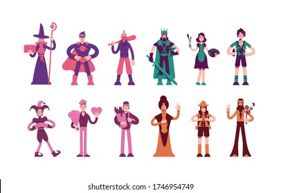 Twelve archetypes flat color vector characters set. Magician and hero in cape. Medieval king and wise man. People personality types isolated cartoon illustrations on white background
