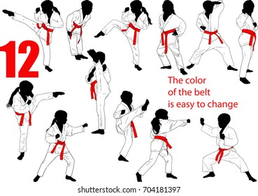 Twelve Baby Karate Silhouettes of Boys and Girls Isolated on White Who Easily Change the Color of the Belt