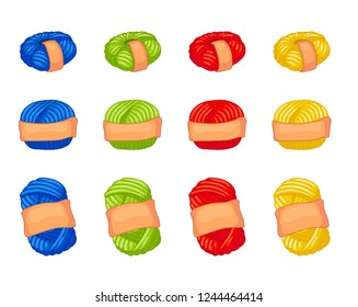 Twelve balls of yarn, oval and circle forms in paper wrapper. Four colors red, blue, green, yellow. Wool thread skein icon for handmade shop and other knit design project. Cute Vector Collection.