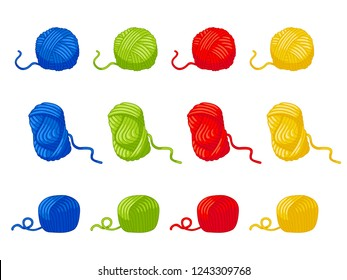 Twelve balls of yarn, three different forms. Four colors red, blue, green, yellow. Wool thread skein icon for handmade shop and other knit design project. Cute Vector Collection.