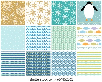 Twelve Christmas decorative backgrounds collection. Vector seamless seasonal holidays wallpapers. Arctic winter patterns, symbols, icons set.