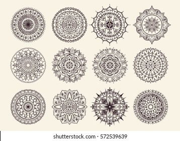 Twelve circular ornaments. Round Pattern Mandala. Round backgrounds for the greeting cards,  invitation, tattoo template, business style, cards or else. Vector illustration
