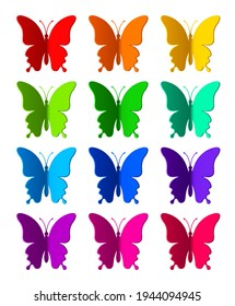 Twelve colored paper butterflies isolated on white background. Silhouette of a butterfly is perfect for stickers, icons, greeting cards and gift certificates