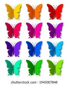 Twelve colored paper butterflies with vector shadow isolated on white background. Silhouette of a butterfly is perfect for stickers, icons, greeting cards and gift certificates