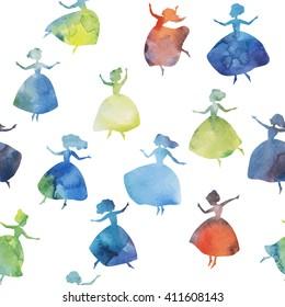 Twelve dancing princesses. Beautiful ballerinas silhouette. Vector watercolour seamless pattern.