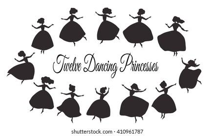 Twelve dancing princesses. Vector paper cutting. Laser cutting