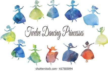 Twelve dancing princesses. Vector watecolour silhouettes