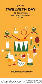 the twelve days of christmas greetings template vector/illustration