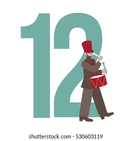 Twelve drummers drumming Christmas illustration. EPS 10 vector.