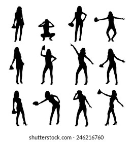 twelve elegant vector silhouettes of girl in hat.