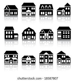 Twelve house silhouettes