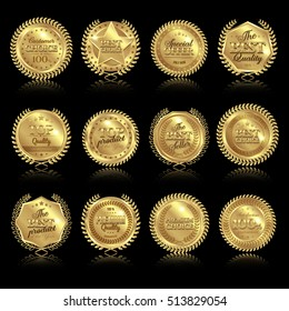 Twelve isolated round golden medal awards set of premium quality best on dark background with reflections vector illustration