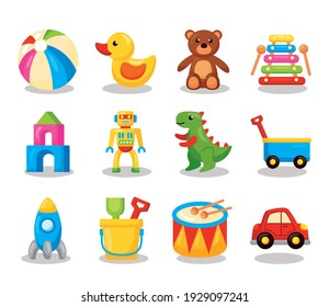 twelve kids toys set icons