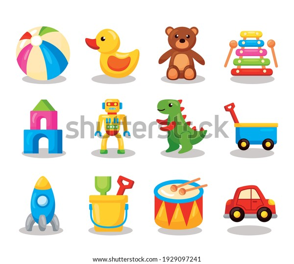 twelve kids toys set icons