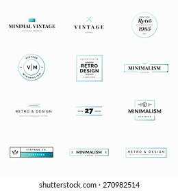 Twelve minimal vintage and retro vector logos for shops. Modern and minimalism styled vector logos for multiple use. Fresh ideas for brand identity work.