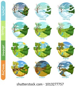 Twelve months of the year set, four seasons nature landscape winter, spring, summer, autumn vector illustrations