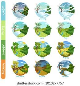 Twelve months of the year set, four seasons nature landscape winter, spring, summer, autumn vector illustrations