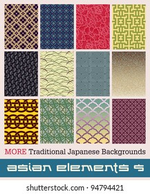Twelve MORE traditional Japanese patterns (most seamless) with geometric and nature themes.