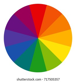 Twelve part RYB (red, yellow, blue; this color system is used by artists) color wheel. Complementary colors are opposite each other. Vector graphic, isolated background.