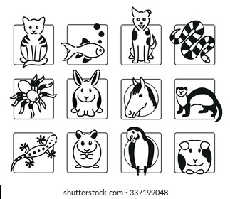 Twelve popular pet animal icons in black outline