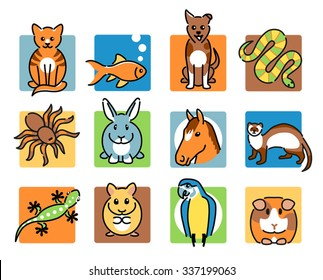 Twelve popular pet animal icons