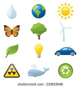 Twelve saving the environment icons.