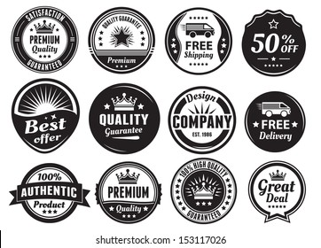 Twelve scalable badges in dark color and vintage style. Premium, high quality guaranteed, free shipping, delivery, discount and authentic labels.