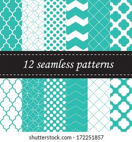 Twelve seamless geometric patterns with quatrefoil, chevron and polka dot designs, in turquoise or blue