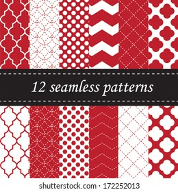 Twelve seamless geometric patterns with quatrefoil, chevron and polka dot designs, in red