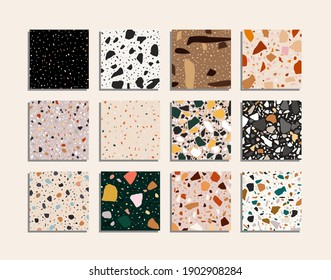 Twelve seamless terrazzo. Unique handmade patterns repeating the background. Textured granite shapes in vibrant colors