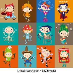 Twelve stickers with kids