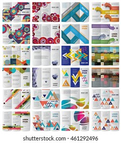 Twelve Tri fold  brochures or magazine covers templates . Abstract brochures. Abstract backgrounds. Abstract templates. Abstract illustration style. Tri fold design. Abstract pattern on brochure cover