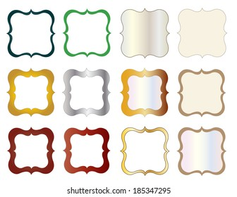 Twelve vectors Kit Frames and Journal forms.