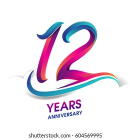 twelve years anniversary celebration logotype blue and red colored. 12th birthday logo on white background.