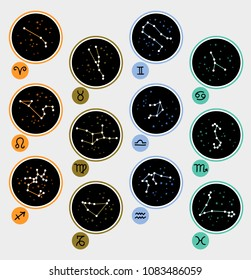 Twelve Zodiac Constellations and Signs