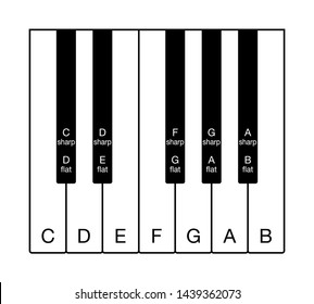 Twelve-tone chromatic scale on a keyboard. One octave of notes of the Western musical scale. Twelve keys from C to B with the names of the notes in English. Illustration on white background. Vector.