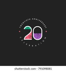 Twentieth 20th Years Anniversary Celebration Logo Design, Number 20 Icon Vector Template.