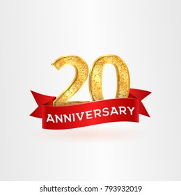 The twentieth anniversary of birth with red ribbon vector illustration. 20th years logo template on white background