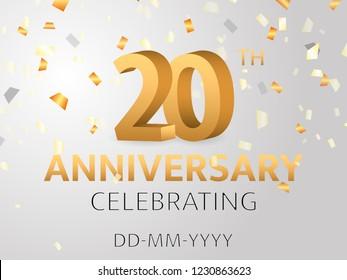 Twentieth Anniversary with confetti. Vector illustration