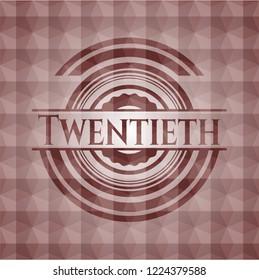 Twentieth red seamless badge with geometric background.