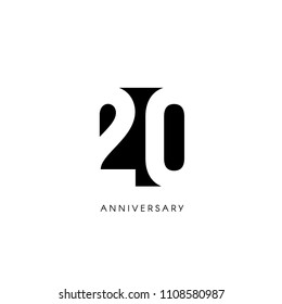 Twenty anniversary, minimalistic logo. Twentieth years, 20th jubilee, greeting card. Birthday invitation. 20 year sign. Black negative space vector illustration on white background