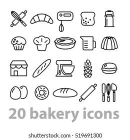 twenty bakery icons collection