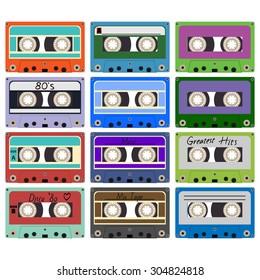 Twenty colorful plastic audio cassette tape