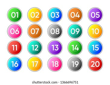 Twenty colorful vector numbers icons on white background