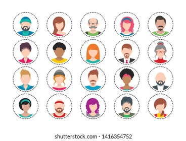 Twenty colorful vector people avatar icons set isolated