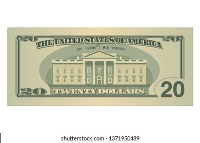 Twenty dollars bill. 20 US dollars banknote, back side. Vector illustration isolated on white background