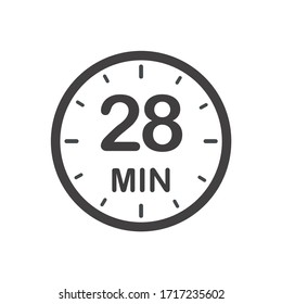 Twenty eight minutes icon. Symbol for product labels. Different uses such as cooking time, cosmetic or chemical application time, waiting time...